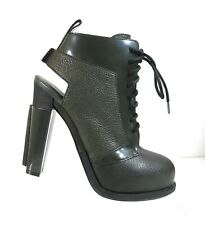 New Alexander Wang Dakota Women Green Pebbled Leather Lace Up Booties Size 37