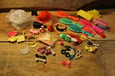 Vintage Mixed Barbie Doll Accessories Lot Brushes Hat Phone Mirror Earrings +