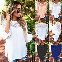 Women Blouse Long Sleeve Lace Floral Chiffon T-Shirt Summer Loose Shirts Tops