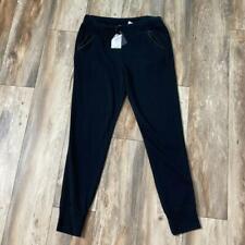T Alexander Wang L Black Leather Trim Sweatpants~Boutique~MACHINE WASHABLE