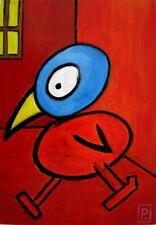 Art brut, art outsider - Tableau - Oiseau sur panneau bois 30 x 21 cm - .