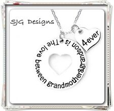 """"""" THE LOVE BETWEEN A GRANDMOTHER AND GRANDSON IS 4EVER"""" Pendant Link Chain"""