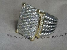 DAVID YURMAN 20X16 WHEATON 18K & STERLING SILVER DIAMOND RING SIZE 6