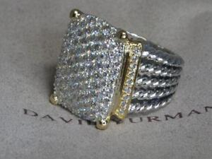 DAVID YURMAN 20X16 WHEATON 18K & STERLING SILVER DIAMOND RING SIZE 6