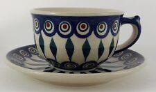 Bunzlauer Keramik Tasse mit Unterteller (F036-54), blau/weiß/grün - 0,3 Liter