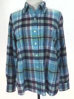 Ralph lauren Shirt LRL Plaid Button Down Turquoise/Purple/Green Women's M $99