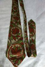 1940's Neck Tie-Mosaics-Merle- Brown/Green Leaves/Retro Design-VG-HANDSOME- SALE