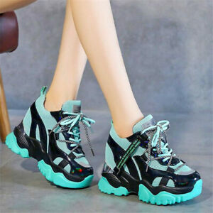 Ankle Boots Women Lace Up Breathable Platform Wedge High Heel Fashion Sneakers