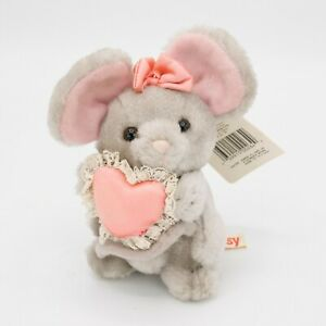 Vintage Russ Berrie Luv Pets Missy Mouse Plush Pink Heart & Bow #264 New Tags