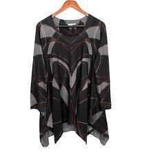 Evelyn & Arthur Womens Large Black Gray Asymmetrical Long Sleeve Tunic Sweater