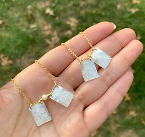 Mother of pearl scapular necklace Virgin Mary sacred heart catholic escapulario
