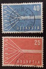 TIMBRES SUISSE 1957 EUROPA CEPT, OBLITÉRÉS, LOT DE 2
