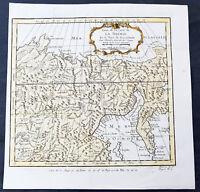 1750 Bellin Original Antique Map of Siberia, Kamchatka, Eastern Russia & China