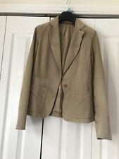 Genuine Suede Beige Taupe Blazer Jacket Size 8