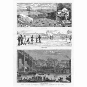 NEWCASTLE Bowling Green, Boat Race, Armstrong Park - Antique Print 1881