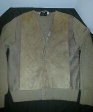Vintage 70s CAMPUS CABLE KNIT FAUX SUEDE BROWN CARDIGAN BUTTON UP SWEATER MED