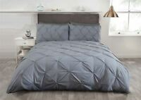 SILVER GREY PINTUCK COTTON BLEND DOUBLE DUVET COVER