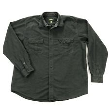 Eddie Bauer Flannel Mens XL Charcoal Gray Long Sleeve Button Up Shirt