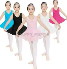 NWT Girls 2-14Years Ballet Dance Gymnastics Sleeveless Dress Leotard with skirt