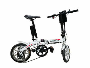 Electric Bike Moped Bicycle City E-Bike White 36V 250W 14'' Wheel LED Display