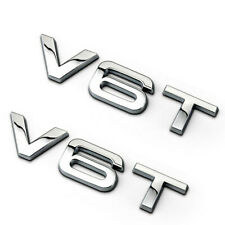 Silver Chrome V6T Rear Boot Badge Emblem Letters Numbers Compatible For V6T Engine SQ5 S5
