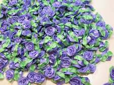 Blue Iris Flower Appliques, Offray Flat Rose Satin Flowers X 10 pcs Mint Leaf