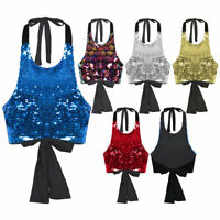 Women Sparkle Shimmer Sequin Tank Top Sleeveless Slim Fit Cropped Vest Tank Tops