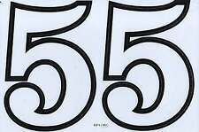 """D542 BIG NUMBER 5 white Racing Tuning Sticker Decal 1 Sheet 10,5""""x7"""" / 27x18 cm"""