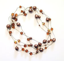 Women's Parisian Chocolate and Amber Pearl Gem String Linked Fashion Necklace