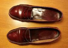 scarpe mocassino TOD'S vintage donna, pelle rosso bordeaux, 38 1/2