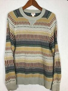 Mossimo Supply Co. Mens Sweater Crew Neck Tribal Fair Isle Knit Size Medium.  8
