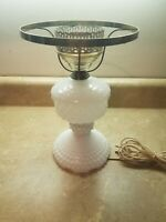 Vintage Hobnail Milk Glass Electric Table Lamp Works Great
