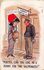 POSTCARD   COMIC   Porter  can you give me a penny for two halfpennies ?