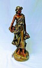 "Vintage Art Deco  CHALKWARE WOMAN walking fruit basket Beautiful Condition 23"""