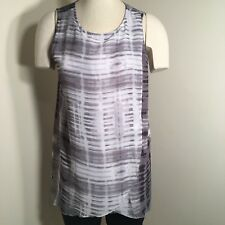 H by Halston Women's Size S Sleeveless Knit Top w/ Overlay Gray & White Hi Low