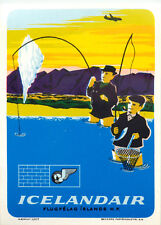 ICELANDAIR / ICELAND - Great Old FLY FISHING Airline Luggage Label, circa 1960