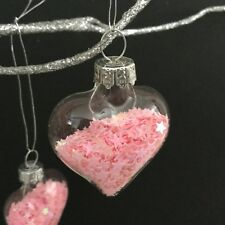 Mini Glass Heart Bauble with Pink Iridescent Star Glitter Christmas Decorations