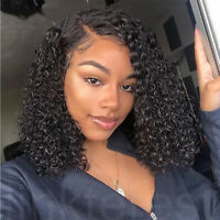 Womens Short Bob Curly Lace Front Wig Malaysian Remy Human Hair Full Wigs 8Inch