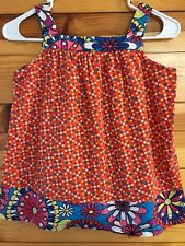 Hanna Andersson Orange Top Polka Dot w/Floral Trim Shirt Girls Size 140 9-10-11