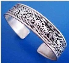 New! Rare Tibet Silver Carve Men's Cuff Bracelet Adjustable