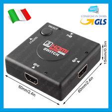 SWITCH HDMI 1080p 3 PORTE FULL HD TV PRESA MULTIPLA HUB ADATTATORE SDOPPIATORE