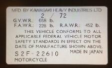 KAWASAKI S2 350 1972 USA HEADSTOCK FRAME DECAL RESTORATION DECAL