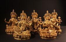 Fünf Figuren der 21 Taras. Seltene, vergoldete Bronze Statuen (Buddha Asiatika)