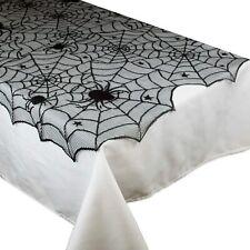 "Gothic Black Lace SPIDER WEB TABLE CLOTH COVER TOPPER Halloween Decor-40"" Square"