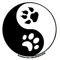 Yin Yang Paw Prints - Small Bumper Sticker / Decal