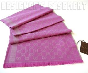 "GUCCI wool & silk 28x77"" Fuchsia & Gray GG Monogram Scarf Pashmina NWT Authentic"