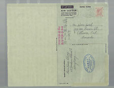 HONG KONG AL3  airletter 1951  to CANADA scarce used full text in Chinese china