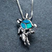Women Gift 925 Silver Mom & Baby Turtle Blue Fire Opal Pendant Necklace Jewelry