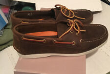 Joseph Abboud Mens 9.5 D Leather Topstitch Boat Laces MocToe 13344 Brown Slip-on