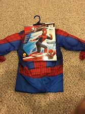 Boys Deluxe Muscle Spiderman Halloween Costume Mask Spider Man Large 12 14 NEW